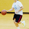 WARREN DILLAWAY / Star Beacon<br /> RAE ANN BENEDICT of St. John dribbles up court Tuesday during a scrimmage at Lakeside.