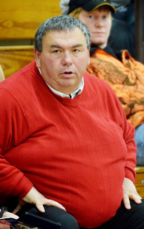 WARREN DILLAWAY / Star Beacon<br /> ROD HOLMES, Jefferson girls basketball coach, watches the action on Saturday night at Conneaut.