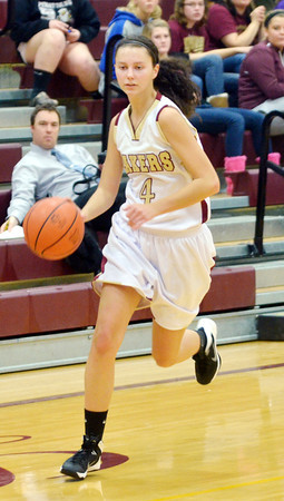 WARREN DILLAWAY / Star Beacon<br /> ABBY HAMILTON of Pymatuning Valley dribbles up court on Monday during a home game with Hubbard.