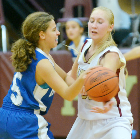 WARREN DILLAWAY / Star Beacon<br /> MEGAN STECH (22) (right) of Pymatuning Valley defends  Athena Smith of Hubbard on Monday evening in Andover Township.