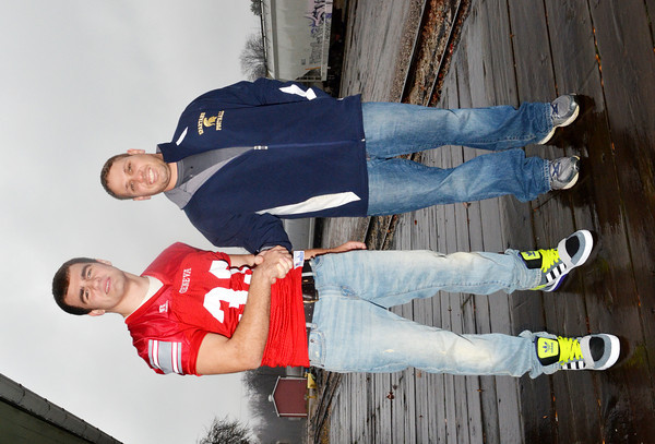 WARREN DILLAWAY / Star Beacon<br /> AARON ROSSI, Star Beacon Player of the Year of Geneva, shakes hands with Rocco Dobran, Star Beacon Coach of the Year of Conneaut.