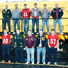 WARREN DILLAWAY / Star Beacon<br /> MEMBERS OF the Star Beacon All-Ashtabula County Footbal l team first team include (from left front row) Paul Hitchcock of Geneva, Garrett Vaught of Lakeside, Hunter Rhoades of Pymatuning Valley, J.J. Lower of Conneaut and Seth Juncker of Geneva. (From left second row) Tyler Loftus of Lakeside, Riis Smith of Edgewood, Austin Clutter of Geneva, Connor McGlaughlin of Edgewood, Anthony Barger of Edgewood and Mike Hussing of Jefferson.