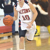 WARREN DILLAWAY / Star Beacon<br /> SAGE CANTINI of Jefferson dribbles up court on Friday during a home game with Geneva.