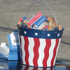 WARREN DILLAWAY / Star Beacon<br /> SNACKS AND Steve Graham campaign information were housed in a patriotic bucket Tuesday outside voting precincts at Mount Carmel Church in Ashtabula.