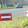 WARREN DILLAWAY / Star Beacon<br /> A SMALL sign guided voters into the Ashtabula Elks Club parking lot Tuesday morning.