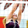WARREN DILLAWAY / Star Beacon<br /> MEGAN STECH of Pymatuning leaps for a block during a Monday evening match at Edgewood.