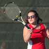 WARREN DILLAWAY / Star Beacon<br /> ANNA FORMAN of Geneva returns a shot during a second singles match Tuesday at Lakeside.