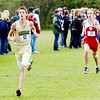 WARREN DILLAWAY / Star Beacon<br /> WILLIAM TAGGART of Lakeside and Darren Haydu of Geneva (right) sprint to the finish of the Premier Athletic Conference Cross Country Meet at the Perry Outdoor YMCA.
