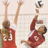 WARREN DILLAWAY / Star Beacon<br /> IESHA NICIU (facing) of Edgewood spikes the ball as Maddie DiBease of Perry reaches for the block on Tuesday evening during a Division II semifinal at Jefferson.