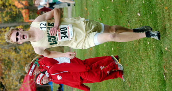 WARREN DILLAWAY / Star Beacon<br /> CALEB HENERY of Lakeside races to the finish Saturday at the Division I District Cross Country Meet at Lakeland Community College.