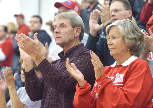 WARREN DILLAWAY / Star Beacon<br /> GENEVA FANS applaud the Eagles after the volleyballl team lost a Division II District Semifinal to Notre Dame Cathedral Latin on Tuesday night at Jefferson.