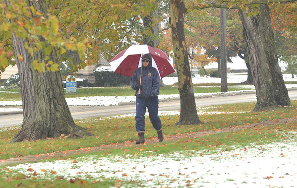WARREN DILLAWAY / Star Beacon<br /> KIM MARCY of Pierpont Township enjoys a walk in the snow during a break from work in Jefferson.