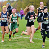 WARREN DILLAWAY / Star Beacon<br /> KATIE DURISIN (349) of Riverside, Hilary Reigle (back center partially hidden) of Madison and Karen Barientos (313) of Lakeside battle it our for a trip to Columbus during the Division I Regional Cross Country Meet at Boardman on Saturday. Barientos and Reigle both qualified for the state championship event.