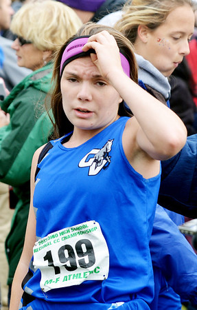 WARREN DILLAWAY / Star Beacon<br /> JESSICA FINLEY of Grand Valley relaxes on Saturday qualifying for the Division II Ohio Athletic Association State Cross Country Meet in Columbus next week during the Boardman regional.