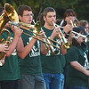 WARREN DILLAWAY / Star Beacon<br /> LAKESIDE HIGH School band members play at a homecoming rally in Lance Corporal Kevin Cornelius Park following the school's homecoming parade Thursday evening in Ashtabula.
