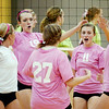 WARREN DILLAWAY / Star Beacon<br /> LAKESIDE VOLLEYBALL players (from left) Sharisse Hunt (2), Paige Halsey (1), Alexis Benedict (19), Kylie Orrenmaa (27), Alissa Patterson (11) and Emily Gehring celebrate after a point Monday night at Lakeside.