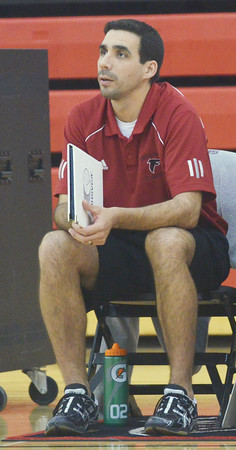 WARREN DILLAWAY / Star Beacon<br /> DON PALM, the Jefferson volleyball coach, watches the action on Tuesday during a home match with Liberty.