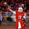 WARREN DILLAWAY / Star Beacon<br /> RYAN KAHOUN of Perry throws a pass on Friday night during a home game with Madison.