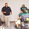 WARREN DILLAWAY / Star Beacon<br /> FRANK HALL, Lakeside football coach, pumps up the troops before the  home opener with Jefferson on Friday night at Lakeside.