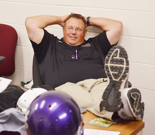 WARREN DILLAWAY / Star Beacon<br /> FRANK HALL, Lakeside football coach, relaxes a moment before the  home opener with Jefferson on Friday night at Lakeside.