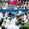 WARREN DILLAWAY / Star Beacon<br /> WET WEATHER didn't deter hundreds of people from attending a Mitt Romney presidential rally at Lake Erie College in Painesville Friday.