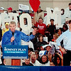 WARREN DILLAWAY / Star Beacon<br /> U.S. SENATOR Rob Portman (left) and U.S. senatorial candidate Josh Mandell get the crowd fired up before a Mitt Romney presidential  rally Friday at Lake Erie College in Painesville.