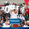 WARREN DILLAWAY / Star Beacon<br /> CONGRESSMAN STEVEN Long (center) addresses a Mitt Romney presidential campaign rally at Lake Erie College in Painesville with U.S. Senator Robert Portman (right) and U.S. senatorial candidate Josh Mandel (left).