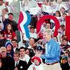 WARREN DILLAWAY / Star Beacon<br /> U.S. SENATOR Rob Portman enters a Mitt Romney presidential rally Friday at Lake Erie College in Painesville.