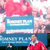 WARREN DILLAWAY / Star Beacon<br /> REPUBLICAN PRESIDENTIAL candidate Mitt Romney addresses a crowd in front of a video screen at Lake Erie College in Painesville Friday.