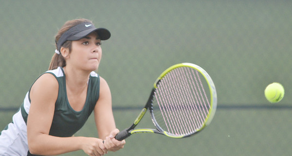 WARREN DILLAWAY / Star Beacon<br /> LEAH BRADY of Lakeside returns a shot during a second doubles match at Geneva on Monday.er Ashley Gran on Monday.