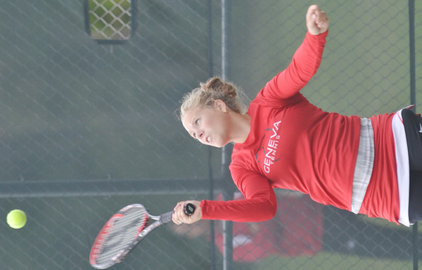 WARREN DILLAWAY / Star Beacon<br /> KAYLA HUFF of Geneva serves during a home second   doubles match on Monday with Lakeside.