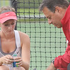 WARREN DILLAWAY / Star Beacon<br /> GENEVA TENNIS Coach Scott Torok talks with Alyx Lynham on Monday during a first singles match with Katie Allen of Lakeside.