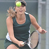 WARREN DILLAWAY / Star Beacon<br /> SARAH GEORGE of Lakeside returns a shot during second doubles action at Geneva on Monday.
