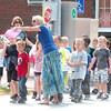 WARREN DILLAWAY / Star Beacon<br /> JACKIE JENKS, of Kingsville Elementary School, leads first graders on an evacuation drill at the intersection of Route 84 and Route 193 in Kingsville Township Monday afternoon.