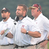 WARREN DILLAWAY / Star Beacon<br /> NEAL CROSTON, Pymatuning Valley football coach, (center) reacts during first half action on Friday night during a home game with Edgewood.