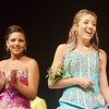 WARREN DILLAWAY / Star Beacon<br /> KAITLYN KEENAN (right) reacts after being named Jr. Miss Grapette on Saturday night at Geneva High School as fellow contestant Julie Horvath claps.