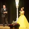 WARREN DILLAWAY / Star Beacon<br /> CARLEY MOTTLEY prepares to answer a question from Jr. Miss Grapette Master of Ceremonies Jeff Fanchek on Saturday night at Geneva High School.