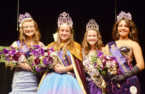 WARREN DILLAWAY / Star Beacon<br /> THE MISS GRAPETTE PAGEANT royalty includes (from left) Mary Wessell, second attendant; Emily Deering, Miss Grapette; Katie Peck, outgoing Miss Grapette and Paige Mottley, first attendant.