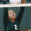 WARREN DILLAWAY / Star Beacon<br /> SHARISSE HUNT of Lakeside leaps for the block Saturday during the Lakeside Volleyball Invitational.