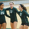 WARREN DILLAWAY / Star Beacon<br /> AALIYAH ALLGOOD (26) and Lakeside teammate Emily Gehring and Lexi David gather after a point Saturday during the Lakeside Volleyball Invitational.