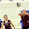 WARREN DILLAWAY / Star Beacon<br /> MEGAN STECH (7) of Pymatuning Valley sets sthe ball with teammate Abby Pfrenger watching on Monday during a match at Grand Valley.