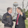 WARREN DILLAWAY / Star Beacon<br /> U.S. SENATOR Sherrod Brown (right) talks with former U.S. Congressman Dennis Eckart during a visit to Plant C in Ashtabula Township on Monday.