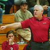 WARREN DILLAWAY / Star Beacon<br /> DAVE FOWLER, Edgewood volleyball coach, instructs his team Monday evening during a match at Conneaut.