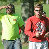 WARREN DILLAWAY / Star Beacon<br /> STEVE HILL cheers his team on Tuesday during the Ashtabula County Cross Country Meet at Edgewood.