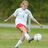WARREN DILLAWAY / Star Beacon<br /> BRITTANY AVENI of Edgewood kicks the ball Tuesday afternoon during a home match with Geneva.