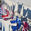 WARREN DILLAWAY / Star Beacon<br /> LAWN CHAIRS saved spots for people wanting front row seats for the Grape Jamboree Parade on Saturday afternoon along Roue 20 in Geneva.