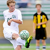 WARREN DILLAWAY / Star Beacon<br /> TOMMY STEEN of Lakeside kicks the ball on Tuesday during a home game at Riverside.