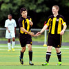 WARREN DILLAWAY / Star Beacon<br /> DAVID MIHAIL (left) of Riverside congratulates teammate Chris Slavin after a goal on Tuesday during a match at Lakeside.