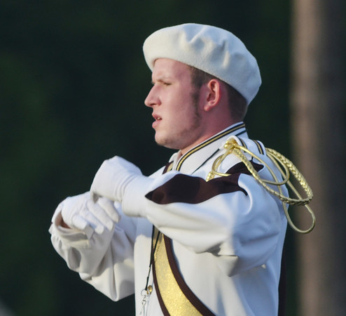 WARREN DILLAWAY / Star Beacon<br /> JAMES RILEY led the Pymatuning High School band during a pre-game program on Friday.