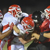 WARREN DILLAWAY / Star Beacon<br /> RYAN ZINDASH (second from right) of Jefferson is surrounded by Edgewood defenders on Friday night at Edgewood.